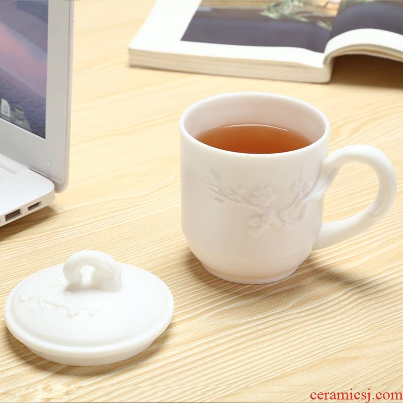 Qiao mu dehua white porcelain cup getting office tea cup of high - grade ceramic cups with cover mark cup without glaze surface