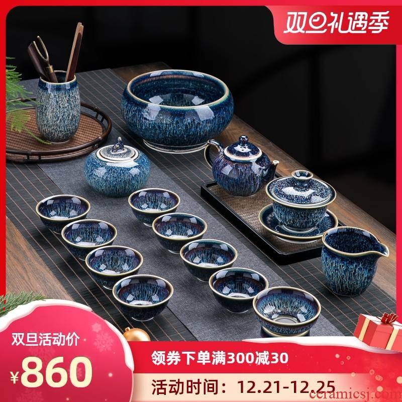 Up built red glaze, tea sets suit home sitting room jingdezhen ceramic cups to build kilns kunfu tea light