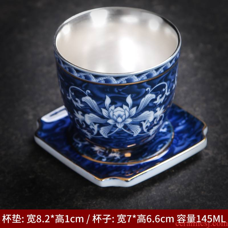 Kung fu small ceramic cups tea bowl household single sample tea cup purple sand tea of blue and white porcelain enamel color restoring ancient ways