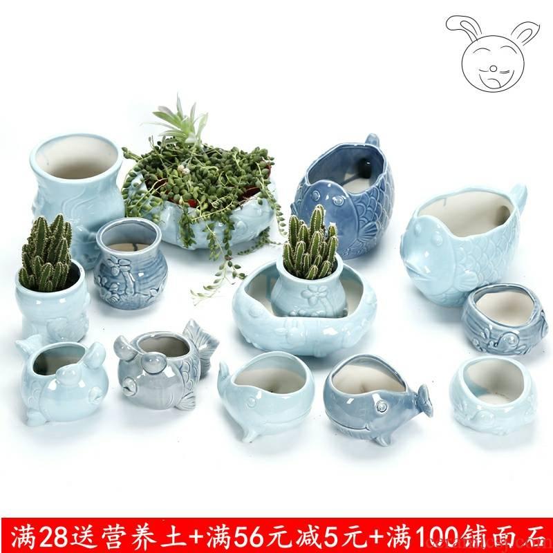 Creative fleshy ceramic pot wholesale medium household the plants porcelain basin small balcony cartoon express breathable move