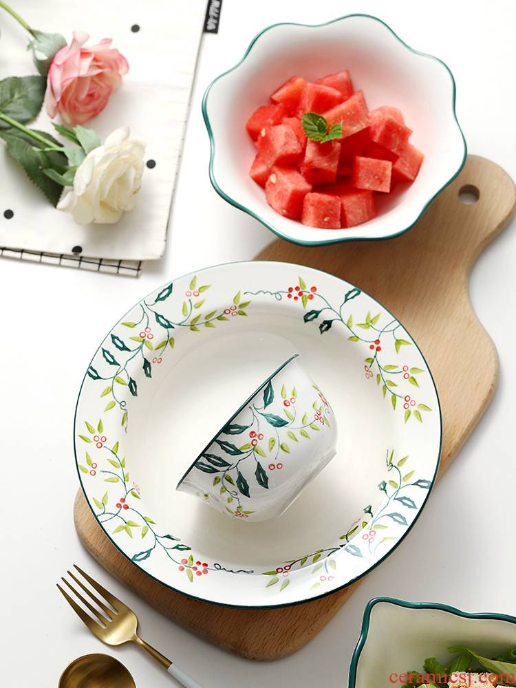 The dishes suit creative noodles in soup bowl large move contracted household dear little pure and fresh and web celebrity tableware ceramic plate