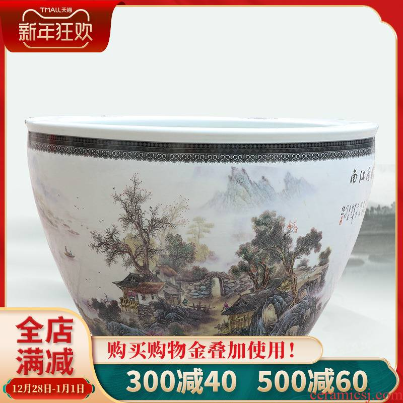127 jingdezhen ceramics pastel landscape map daikin tank cylinder water lily tortoise refers to flower pot furnishing articles