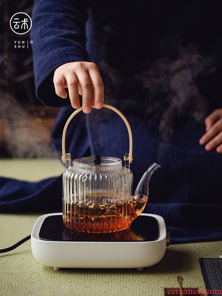 Japanese more heat resistant glass tea machine high temperature steaming the teapot tea pot of electric separation of girder TaoLu single pot of cooked pot