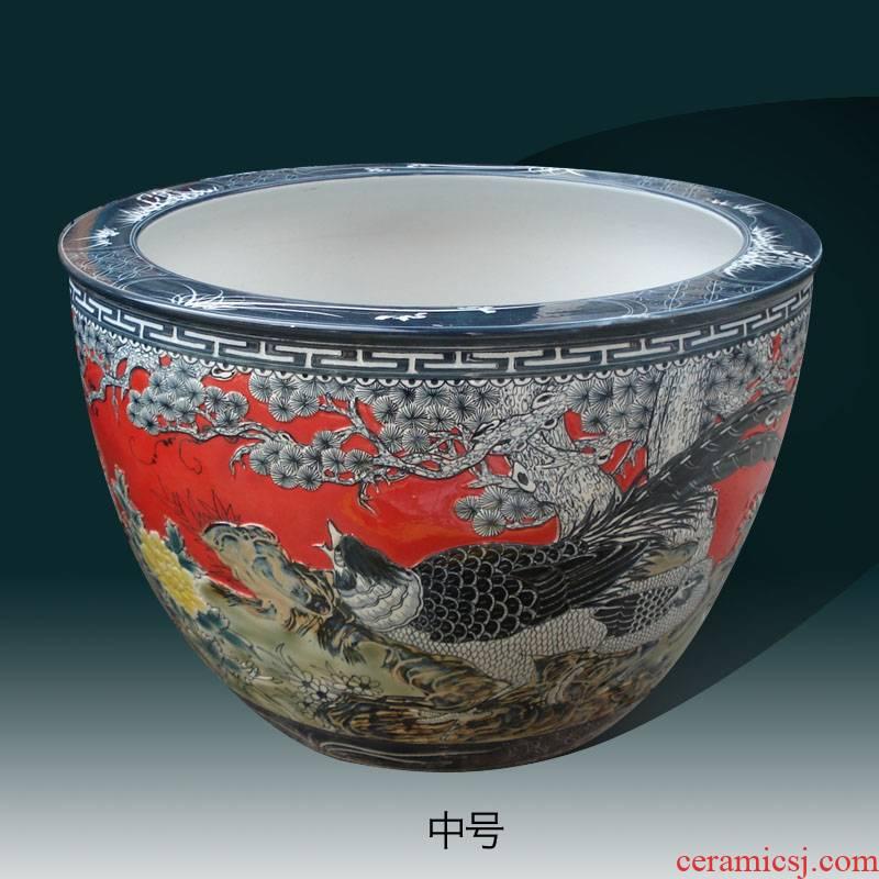 Jingdezhen red bottom emboss festive red porcelain cylinder cylinder engraving display painting and calligraphy art porcelain cylinder cylinder