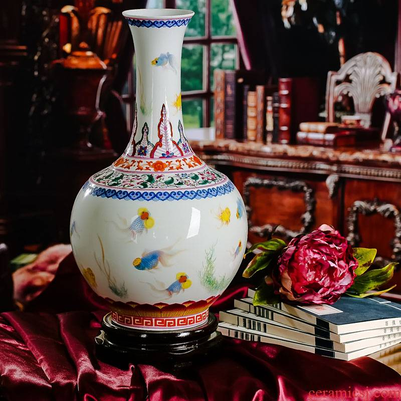 Jingdezhen ceramics from red xin colored enamel porcelain snapper bottle vases, flower receptacle modern fashionable sitting room furnishing articles