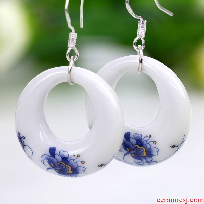 QingGe ceramic accessories national wind round earrings earrings hand applique and elegant G13 booth in supply