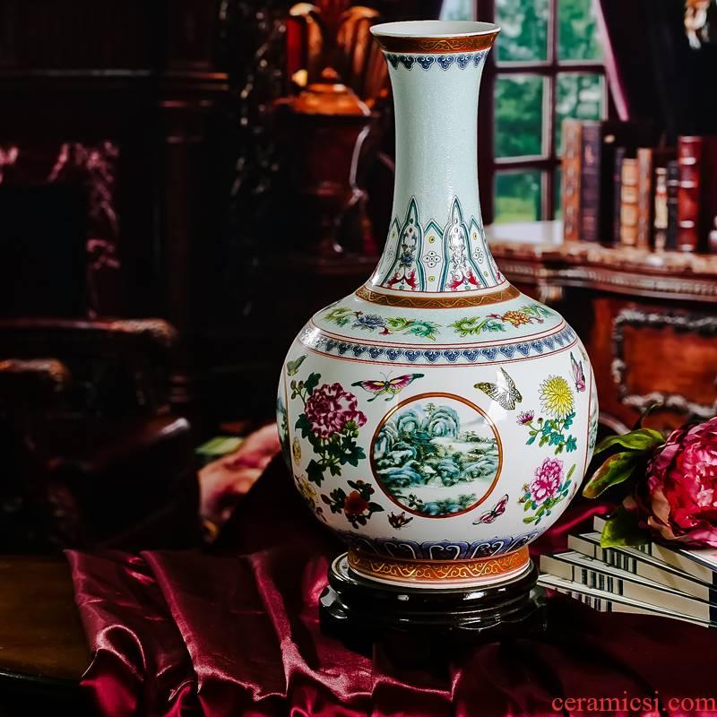 Jingdezhen ceramics from red xin enamel pastel colored porcelain bottles of white vase of flowers