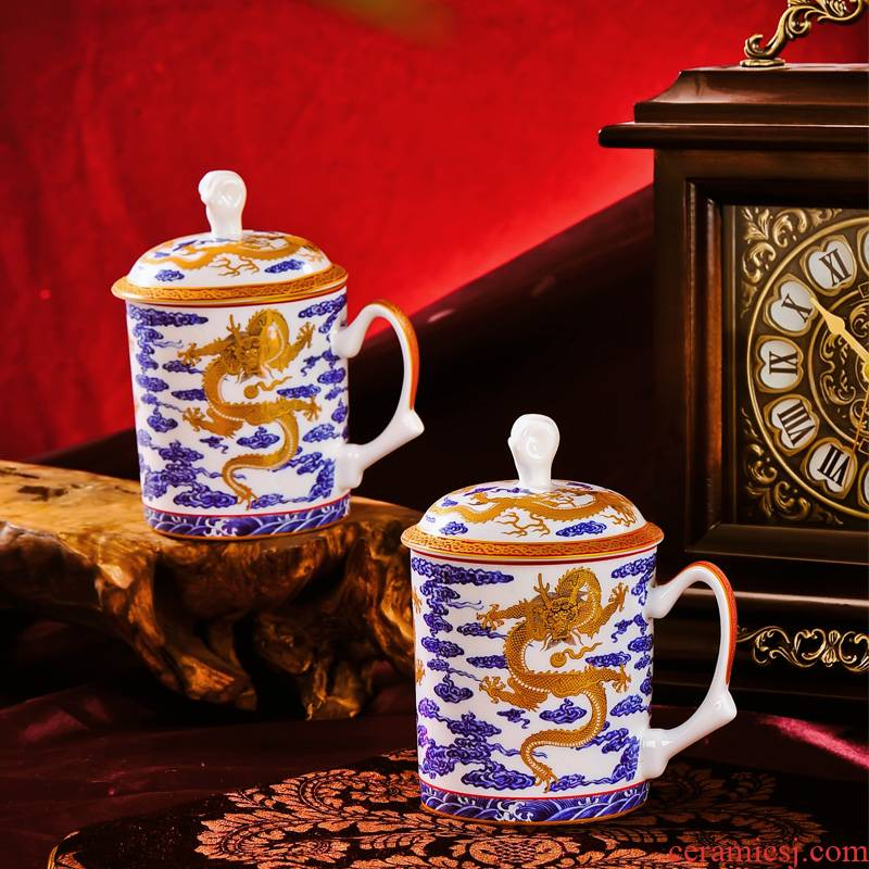 Red xin gift of jingdezhen ceramic office principal dragon tea cups with cover cup cup