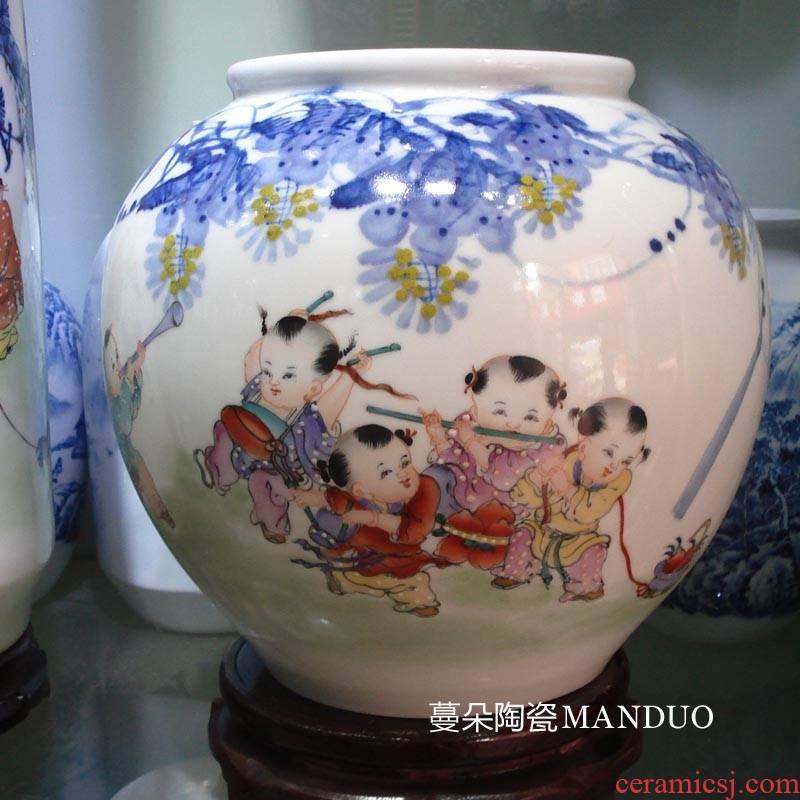 Jingdezhen color tong qu mesa of goldfish goldfish turtle China shallow basin round ball China porcelain