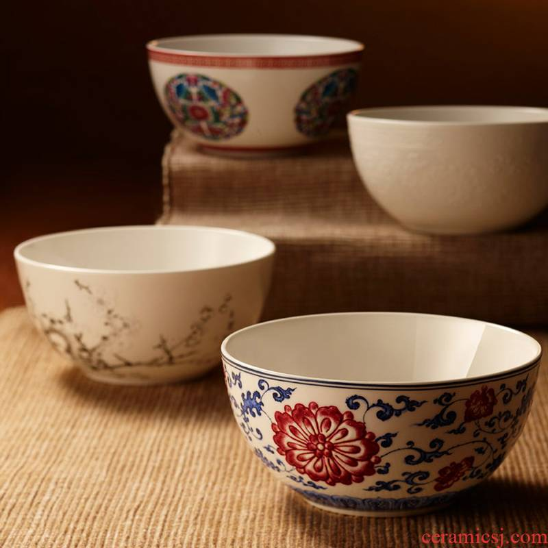 Red xin home jingdezhen porcelain bowl bucket color ipads bowls 4 pieces wedding gift set rice bowls