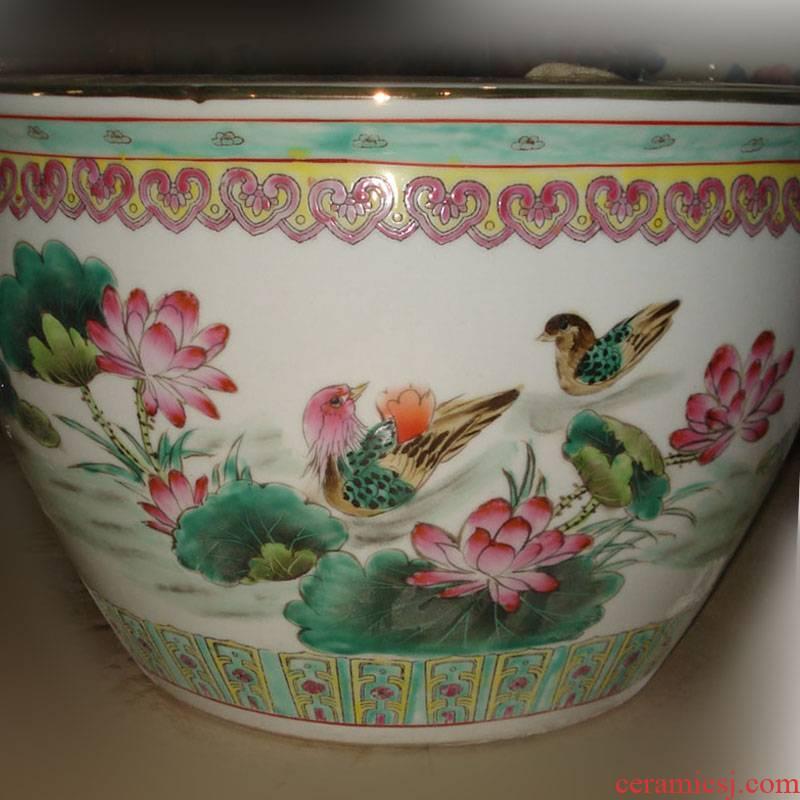 Jingdezhen treasured art hand - made yuanyang calligraphy and painting porcelain porcelain cylinder cylinder