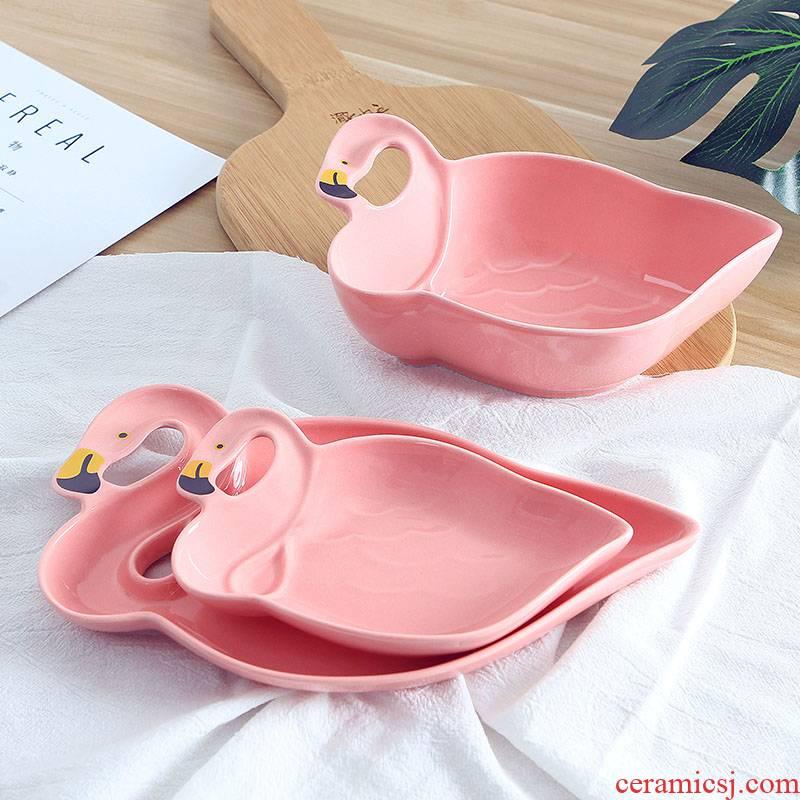 Ins girl hot pink flamingo snacks disc ceramic bowl dessert fruit breakfast snack plate dry fruit tray