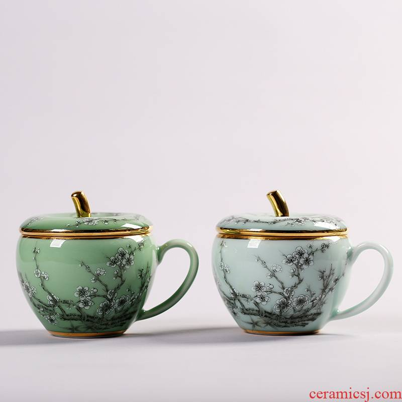 Red xin celadon teacup apple coloured drawing or pattern glass mugs office home tea tea set with cover cups