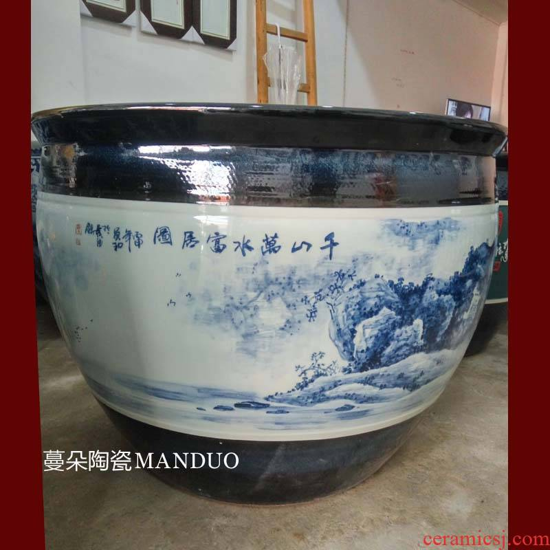 Jingdezhen hand - made huangshan pine needles scenery vats of high - grade porcelain Buddha temple courtyard to raise water lily vats