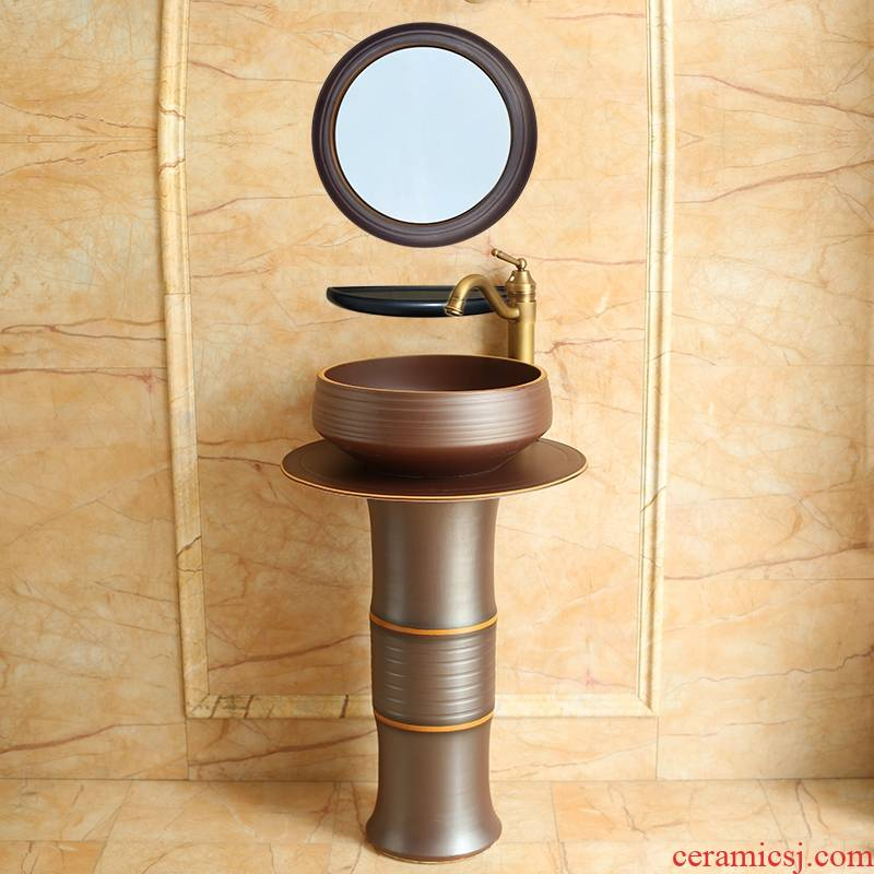 The balcony pillar lavabo one - piece contracted floor ceramic face basin household small family toilet basin of The post