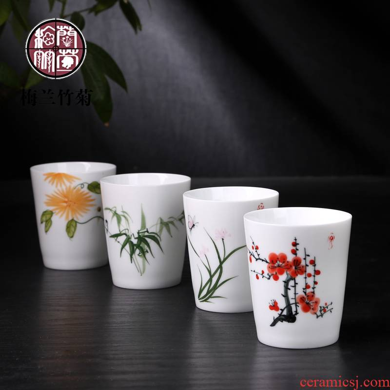 Jingdezhen blue and white porcelain Japanese kung fu tea tea cups white porcelain ceramic tea cup, tea ipads China porcelain cup
