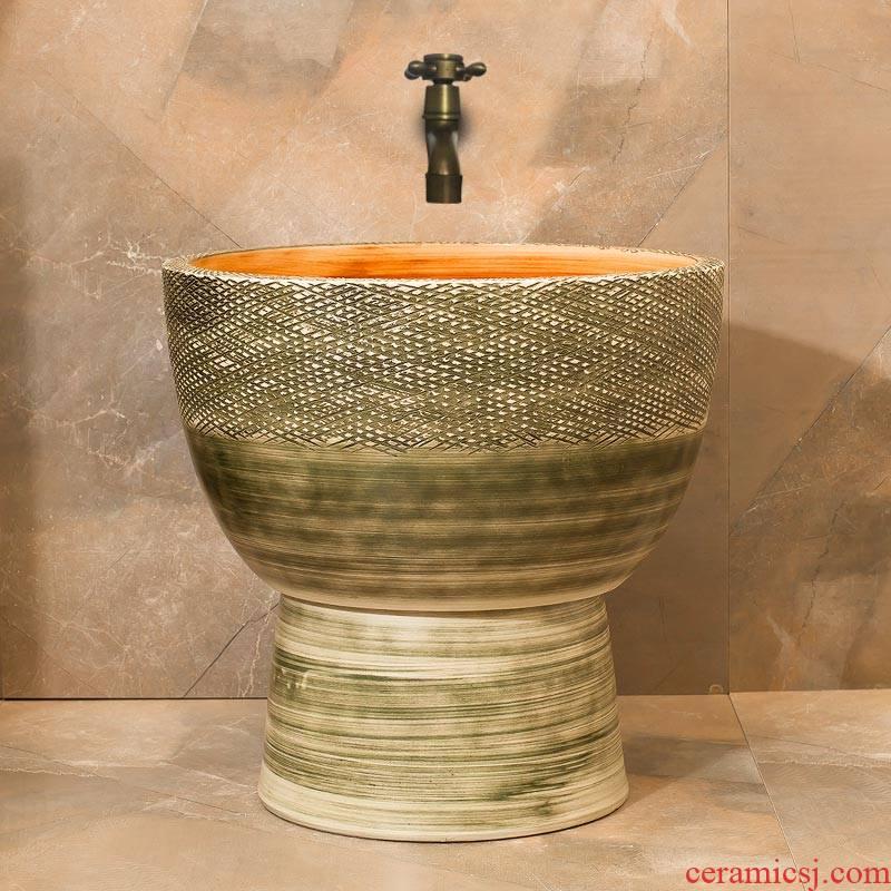 Balcony mop pool archaize ceramic mop pool mop mop sink basin floor mop pool bathroom art