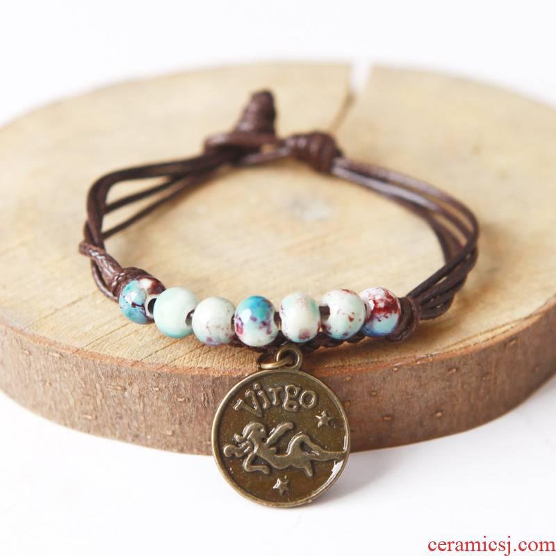 Love QingGe star edge, 12 zodiac constellation bracelet jingdezhen manual flower porcelain glaze bead string singles circle bead market. I sources