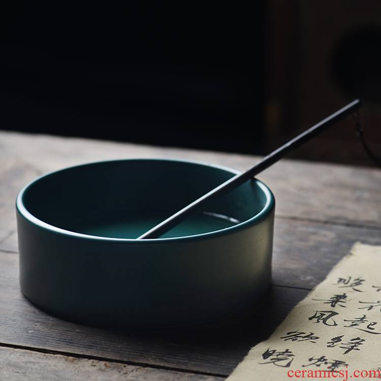 The View flavour malachite green glaze ceramic water XiCha wash to built writing brush washer refers to basin of jingdezhen porcelain tea set by hand