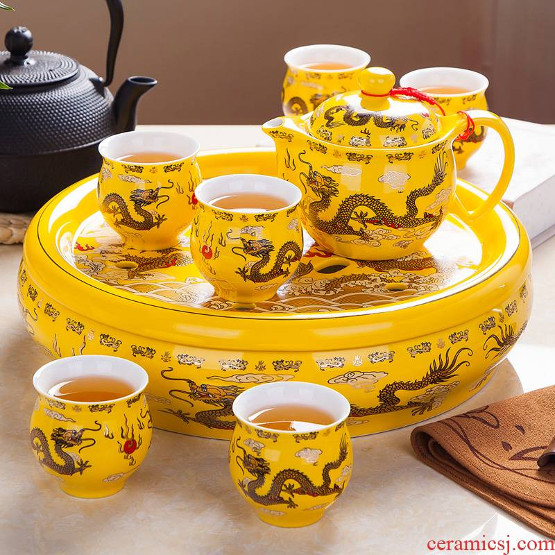 Jingdezhen ceramic tea set suit household of Chinese style large kung fu tea pot of a complete set of yellow longfeng tea tray