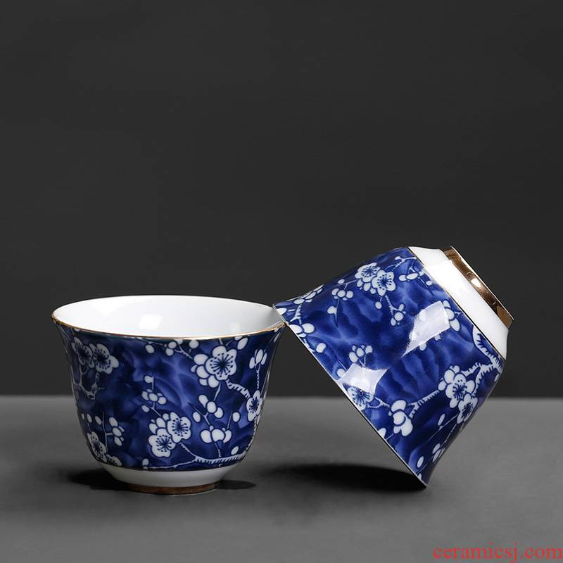 Ice name plum cup small single Chinese wind restoring ancient ways move household kung fu tea set ceramic tea cup single master