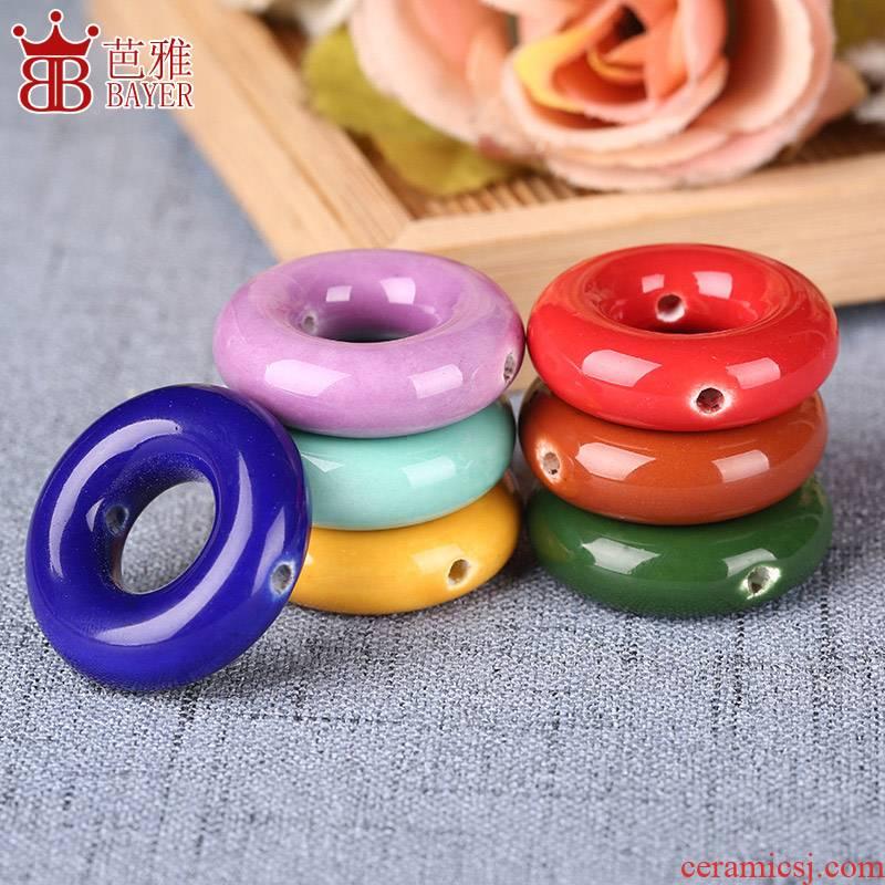 Ba jas Qdiy circle circle ceramic peace buckle, necklace pendant accessories pendant accessories materials by hand