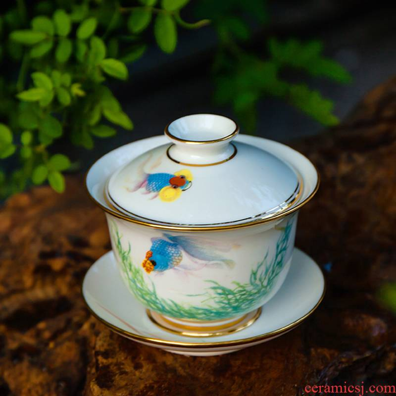 Red xin made tea tureen bowl jingdezhen hand - made pastel large only three bowl of ceramic cup