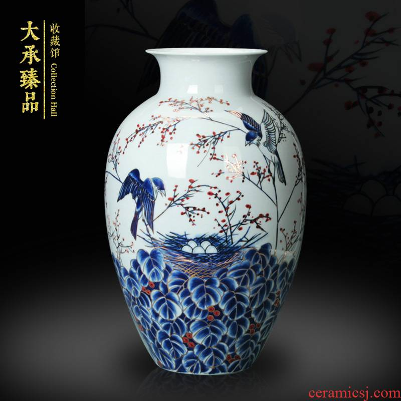 Jingdezhen ceramics famous blue and white see colour flower vase large household decorates hand - made handicraft collection
