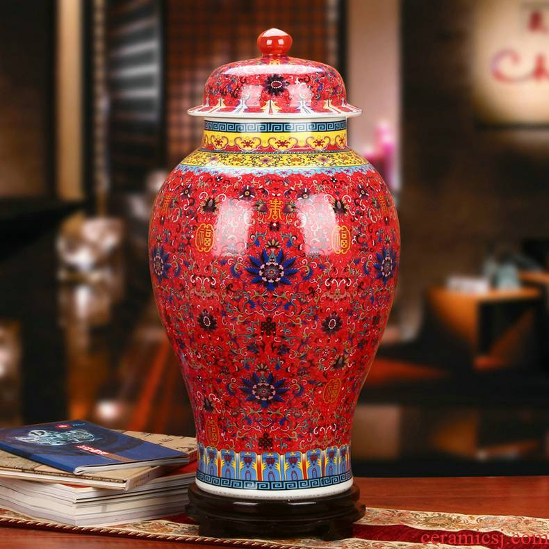 Jingdezhen ceramics colored enamel porcelain Chinese red live general pot vase classical Chinese style household furnishing articles