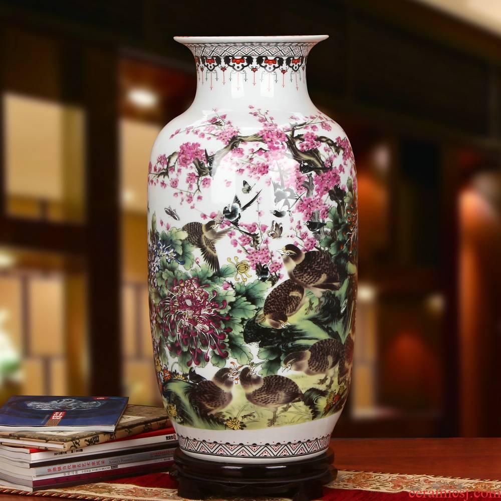 Jingdezhen ceramics powder enamel 9, 12 xi idea gourd of large vases, modern Chinese style household furnishing articles