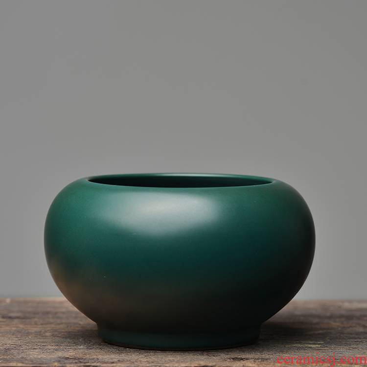 Offered home - cooked at flavour malachite green glaze ceramic water jar is built writing brush washer from jingdezhen porcelain tea set tea by hand