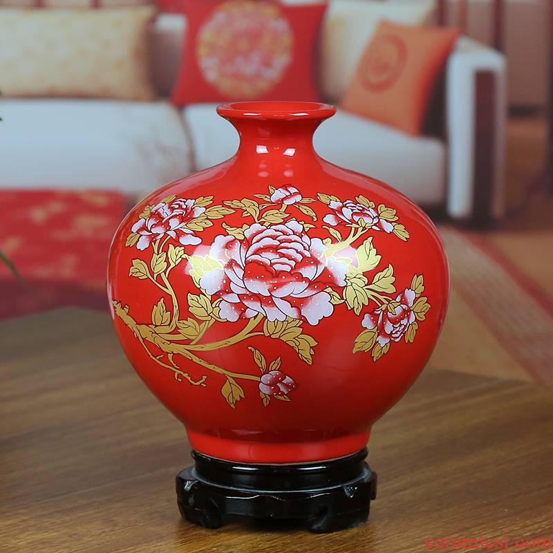 Jingdezhen ceramic vases, Chinese red modern home sitting room place gold peony pomegranate bottle housewarming gift