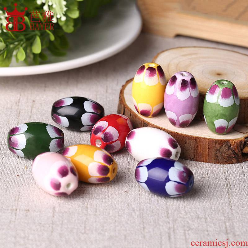 Q ba jas olive printing ceramic beads barrel beads manual diy jewelry beads necklace with parts material beads Chinese wind