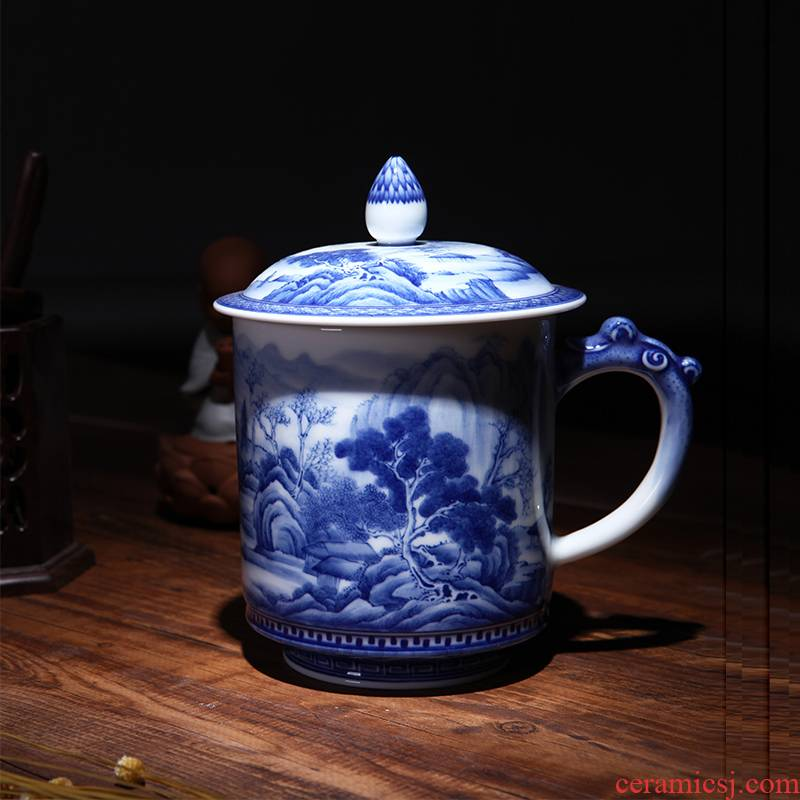 Jingdezhen ceramic kung fu tea cups hand - made porcelain painting landscape office cup sample tea cup with cover cups
