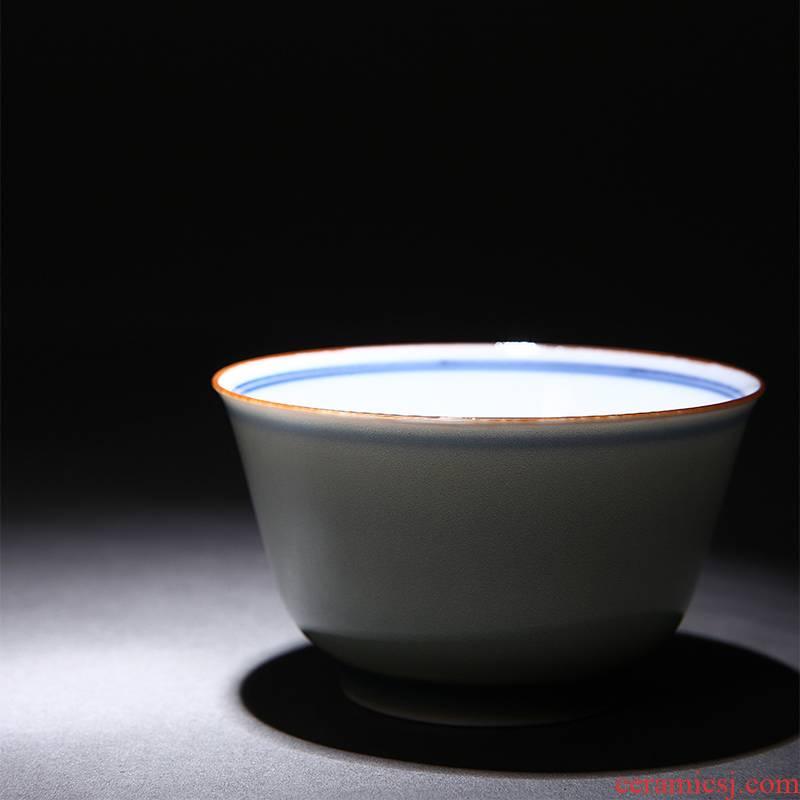 Red xin jade porcelain glaze teacup single cup sample tea cup blue cup kung fu tea cups of jingdezhen tea service