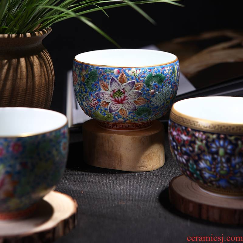 Jingdezhen ceramic cups manual hand - made pastel kung fu tea cups sample tea cup masters cup