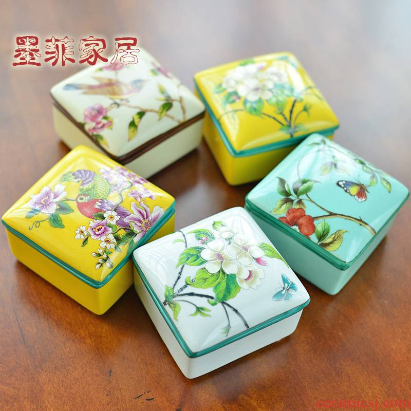 New Chinese style ceramic jewelry box store content box American necklace bracelet ring jewelry boxes furnishing articles decorative box