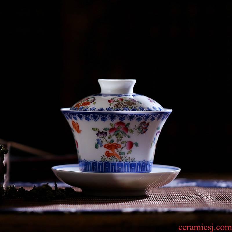 Hong xin tureen large ceramic tea set tea cups jingdezhen hand - made pastel three of the bowl bowl