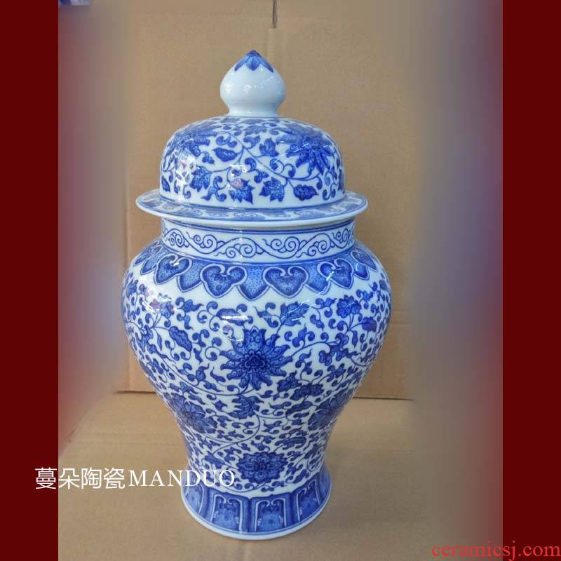Jingdezhen 45 cm high purity hand - made of hand - made 38 - bound imitation general kangxi porcelain pot lotus flower general