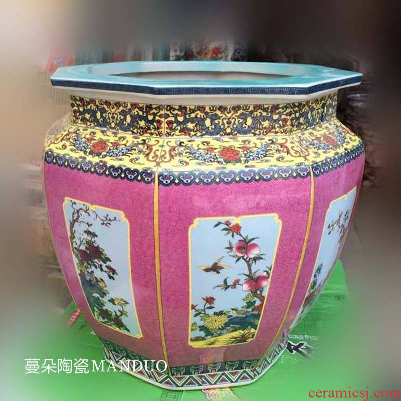 Jingdezhen anise pastel flowers and the receive porcelain jar painting and calligraphy study annatto furniture furnishing articles furnishing articles ceramic cylinder