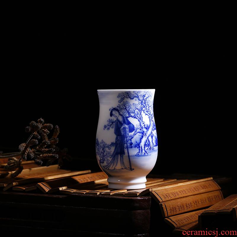 Zhen Huan the twelve beauties of blue and white set of CPU full checking porcelain wedding gift sample tea cup fragrance - smelling cup