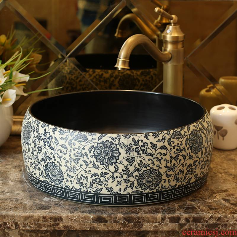 Jingdezhen ceramic stage basin art balcony round blue and white toilet lavabo of pure manual production