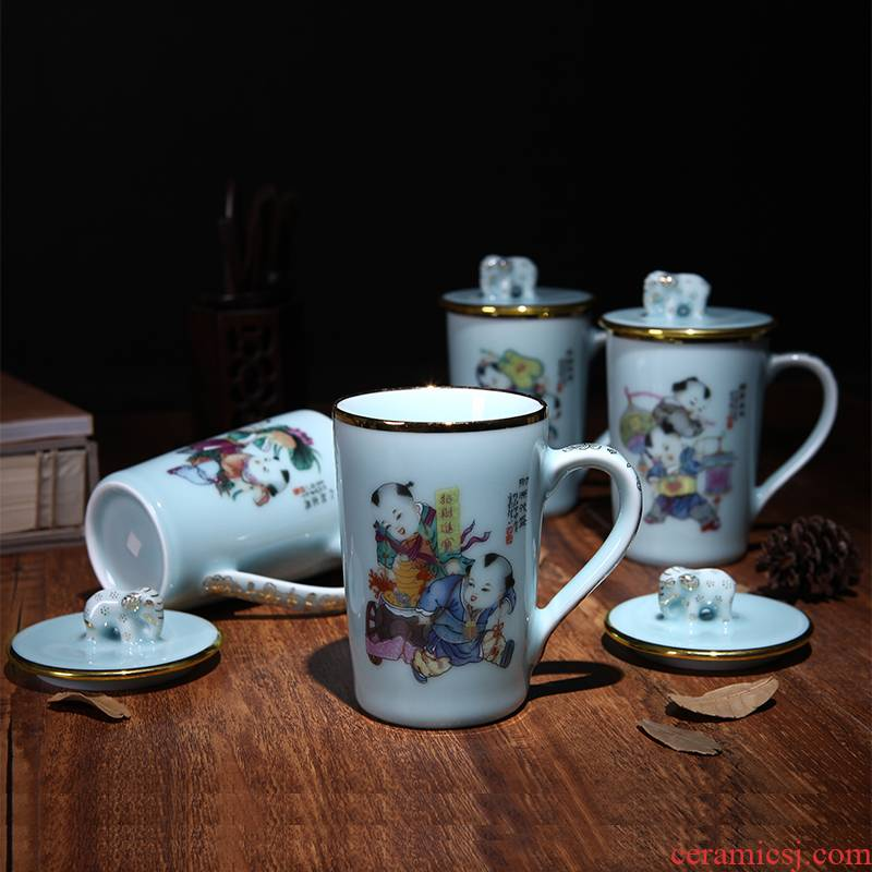 Red xin office tea jingdezhen ceramic tea set household with cover cup celadon single CPU