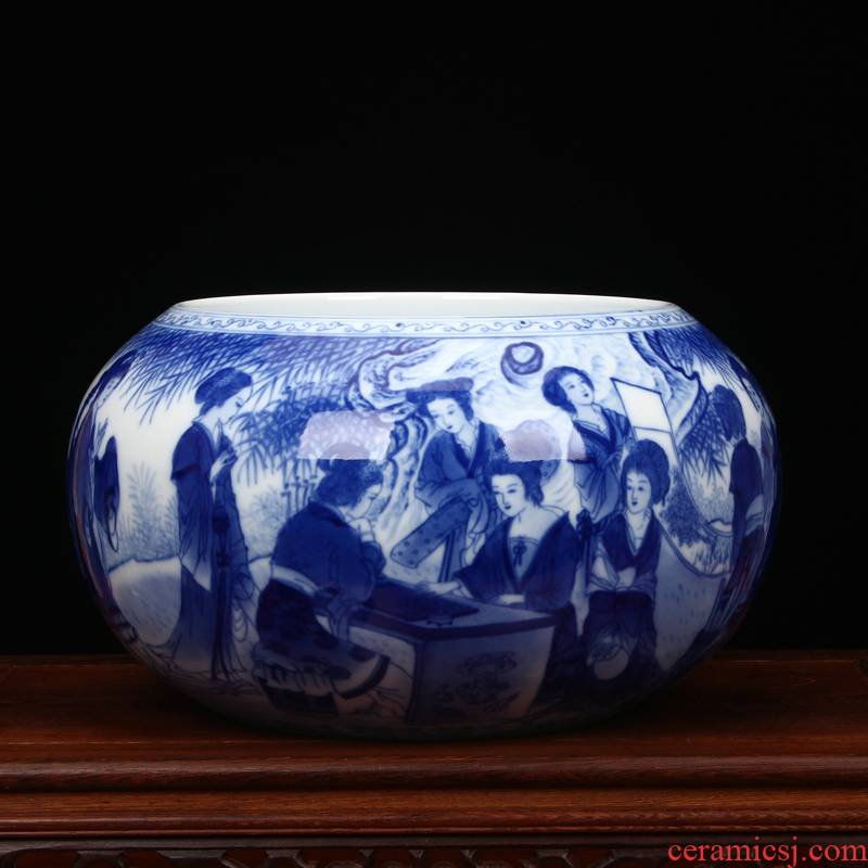 Jingdezhen ceramic vase hand - made had big blue and white porcelain pot study of classical Chinese style household decorative furnishing articles
