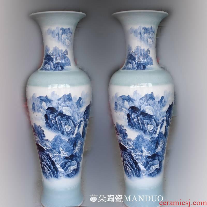 Jingdezhen hand - made dress landscape big porcelain vase, 1.3 to 1.5 meters high Jingdezhen porcelain bottle hand - made the living room
