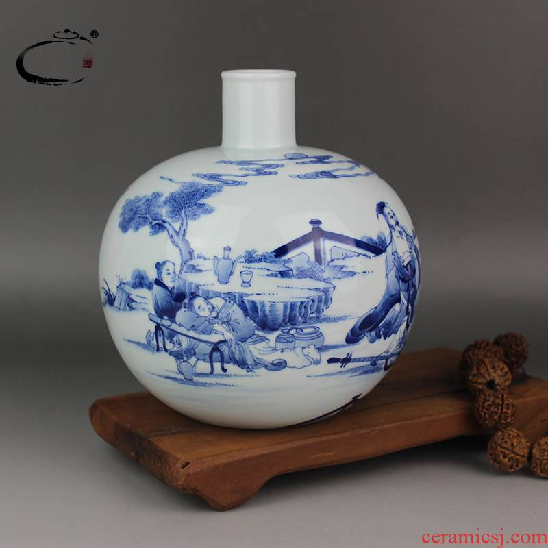 Ceramic vase and auspicious collection household act the role ofing is tasted furnishing articles furnishing articles jingdezhen master hand draw blue and white porcelain