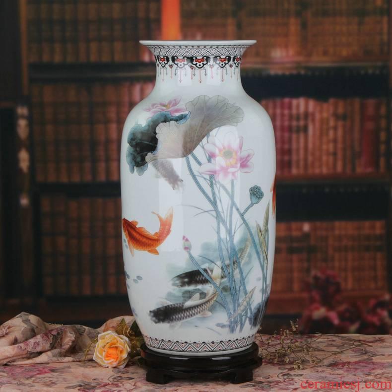 Jingdezhen ceramics vase in rural ink lotus feng shui has fish vase creative fashion home furnishing articles