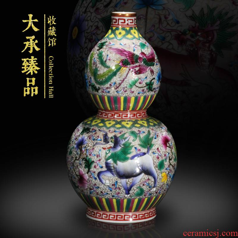 Handwritten Chinese style classical enamel enamel rare gourd small vase collection ceramics handicraft furnishing articles