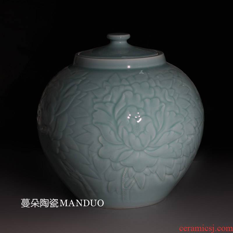 Shadow green ceramic rice pot peony beautiful carving elegant elegant loading ceramic barrel 25 kg of rice jar of storage tank