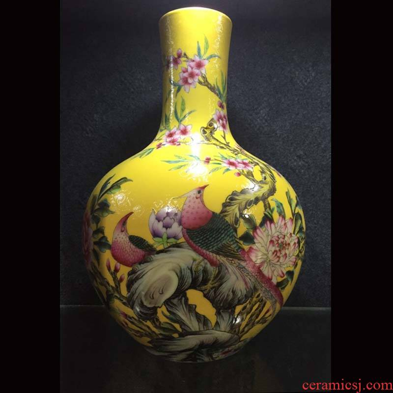 Jingdezhen qianlong general hand - made yellow peony quail enamel pot mei bottles of celestial up the vase